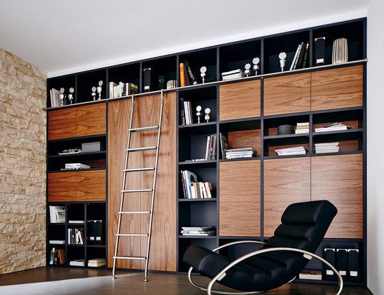 Klassik Ladder System/ Hook Ladder by MWE Edelstahlmanufaktur | Library ladders