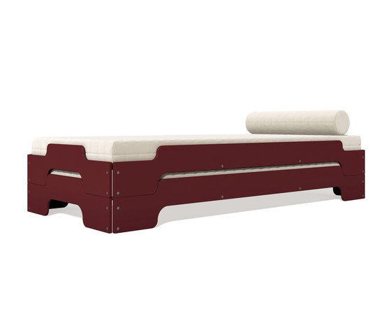 Stacking bed lacquered in standard colours RAL3009 by Müller Möbelwerkstätten | Beds