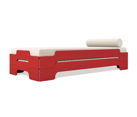 Stacking bed lacquered in standard colours RAL3031 by Müller small living   Beds