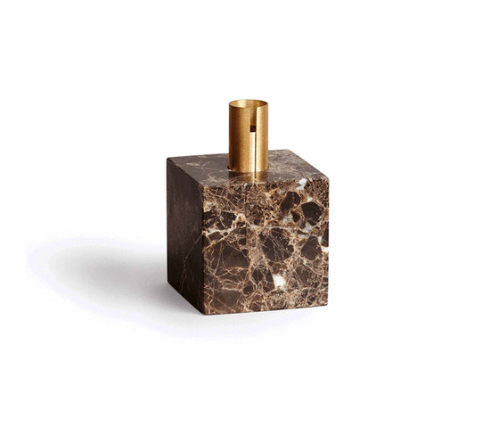 Block Candle Holder Dark Brown Marble w. Brass by NEW WORKS | Candlesticks / Candleholder