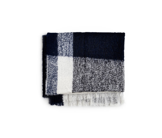 Check Throw Marine Blue Mohair Wool by NEW WORKS | Plaids