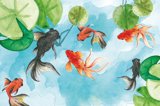 Sweet Little Dots Goldfish by GLAMORA | Bespoke wall coverings