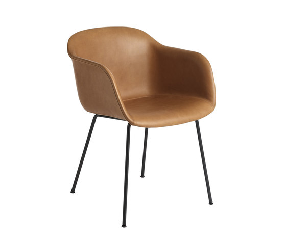 Fiber Armchair | tube base leather by Muuto | Chairs
