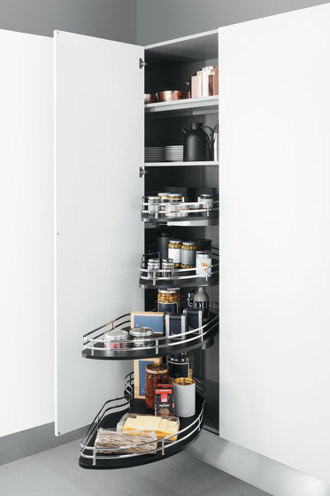Tall units corner base unit with shaped baskets for Kitchen tall unit design