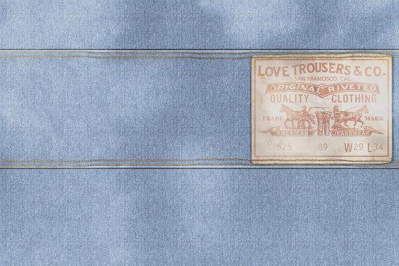 Wall Script Blue Jeans by GLAMORA   Bespoke wall coverings