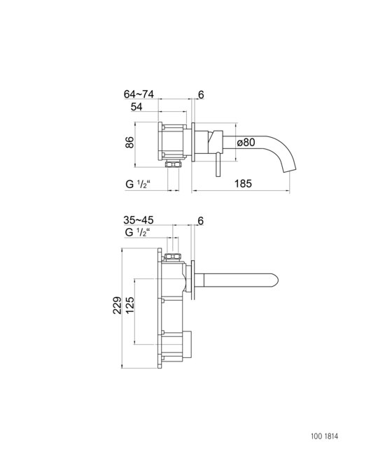100 1814 Wall mounted single lever basin mixer (Finish set) by Steinberg   Wash basin taps
