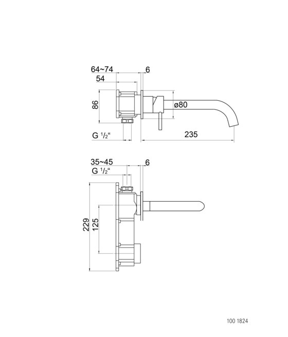 100 1824 Wall mounted single lever basin mixer (Finish set) by Steinberg | Wash basin taps