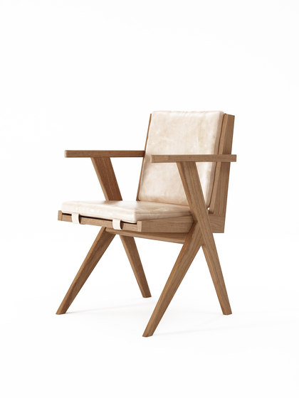 Tribute ARMCHAIR with LEATHER Aged-Cream de Karpenter | Sillas