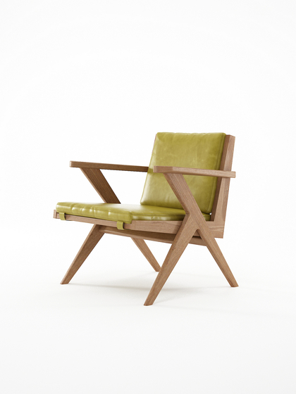 Tribute EASY CHAIR with LEATHER Olive Green de Karpenter | Sillones