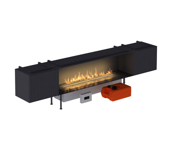 Fire Line Automatic XT in casing C & 2 BOX XT by Planika | Open fireplaces
