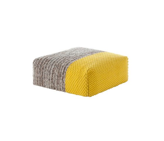 Mangas Space Pouf Square Plait Yellow 1 by GAN | Poufs