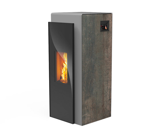 Kapo | with décor side panel rust effect metallic / body silver by Rika | Stoves