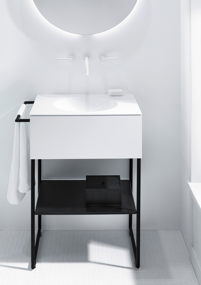 Coco | Mineral cast washbasin incl. vanity unit and metal legs by burgbad | Vanity units