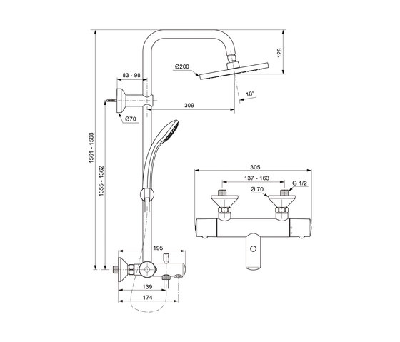 idealrain duschsystem mit badethermostat duscharmaturen. Black Bedroom Furniture Sets. Home Design Ideas
