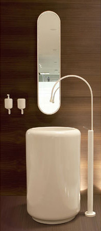 Gessi Goccia Pedestal Lav, Floor-Mount Faucet, Mirror and Accessories by Gessi USA | Wash basin taps