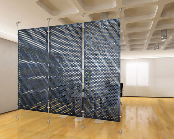 Metal Room Divider in Classic Metal Collection Perforated Aluminum by Moz Designs | Privacy screen