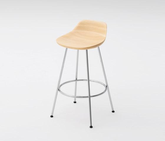 Hiroshima Stool mid (wooden seat) di MARUNI | Sgabelli