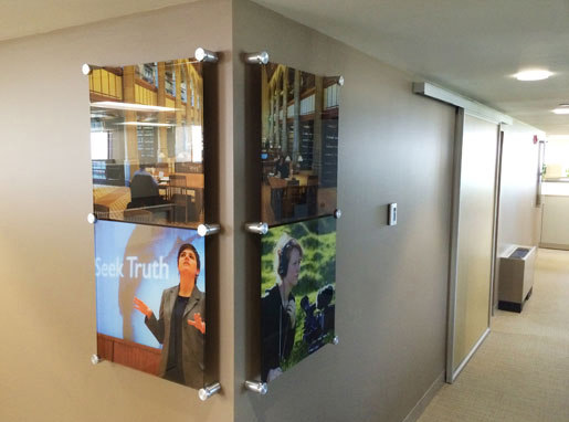 Corner Photo Display with Quick Change Hardware by Gyford StandOff Systems® | Sign holders
