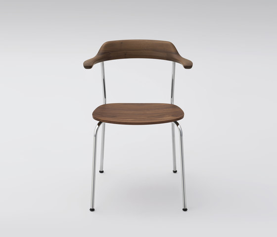 Hiroshima Arm Chair stackable (wooden seat) di MARUNI | Sedie visitatori