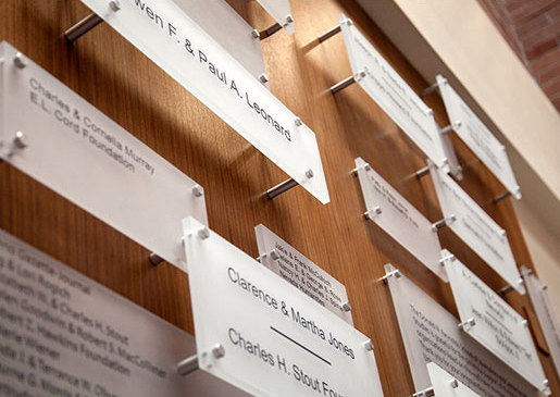 Donor Wall Panel System by Gyford StandOff Systems® | Sign holders