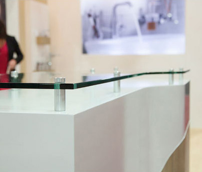 Glass Panel Riser Counter Top by Gyford StandOff Systems® | Glass shelf brackets