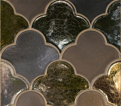 Large Scalloped Fan Glazed Ceramic Tile by Pratt & Larson Ceramics   Ceramic mosaics