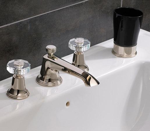 Style Moderne 3 hole basin filler with pop-up waste by Samuel Heath | Wash basin taps