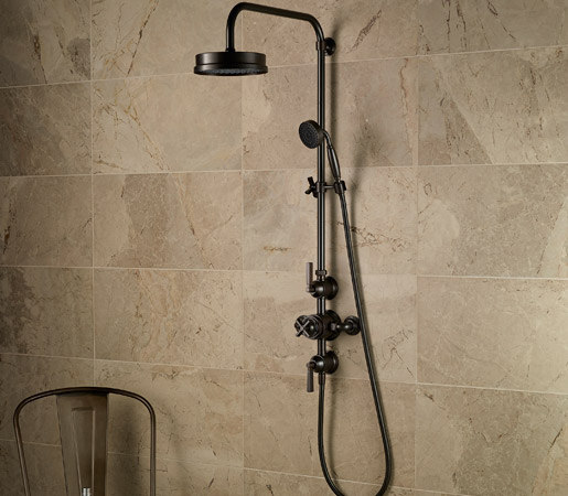 Style Moderne exposed 12 thermostatic shower set by Samuel Heath | Shower controls