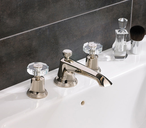 Style Moderne FE 3 hole basin with roundels and props by Samuel Heath | Wash basin taps