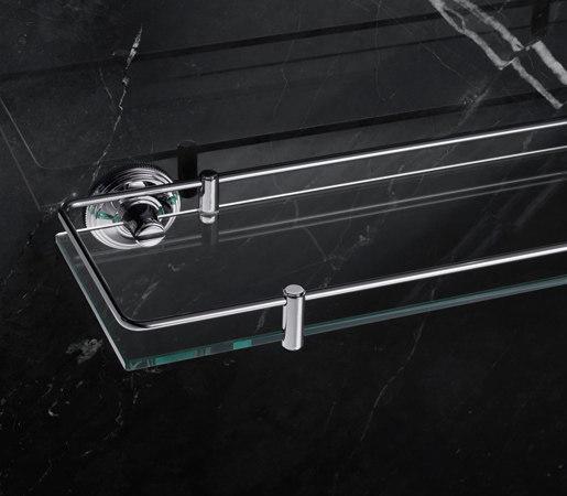 Style Moderne Glass shelf with fixed rail by Samuel Heath | Bath shelves