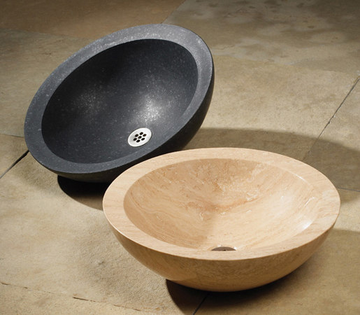 Beveled Round Sink, Honed Basalt by Stone Forest | Wash basins