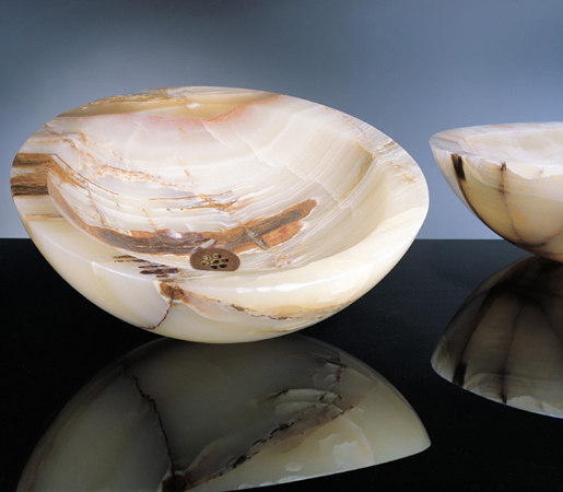 Beveled Round Sink, Multi-Colored Onyx by Stone Forest | Wash basins