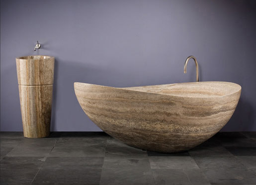 Papillon Bathtub, Silver Travertine by Stone Forest | Bathtubs