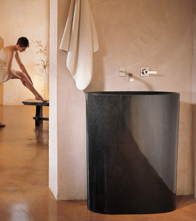 Infinity Pedestal Sink, Black Granite By Stone Forest | Wash Basins