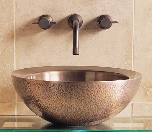 Small Beveled Vessel Sink, Copper by Stone Forest | Wash basins