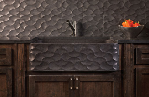 Wave Front Farmhouse Sink, honed basalt by Stone Forest | Kitchen sinks