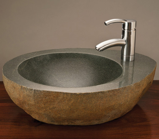 Natural Vessel Sink with Faucet Mount, Grey Granite by Stone Forest | Wash basins