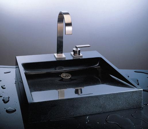 Opus Vessel Sink, Black Granite by Stone Forest   Wash basins