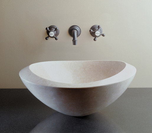 Roma Vessel Sink, Papiro Cream Marble by Stone Forest | Wash basins