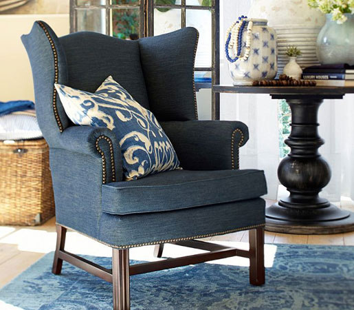 Pottery Barn: Thatcher Upholstered Wingback Chair in Denim by Distributed by Williams-Sonoma, Inc. TO THE TRADE | Lounge chairs