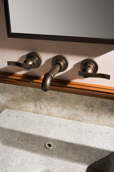 Bali - Wall-mounted basin mixer with 23,5cm spout - exposed parts by Graff | Wash basin taps