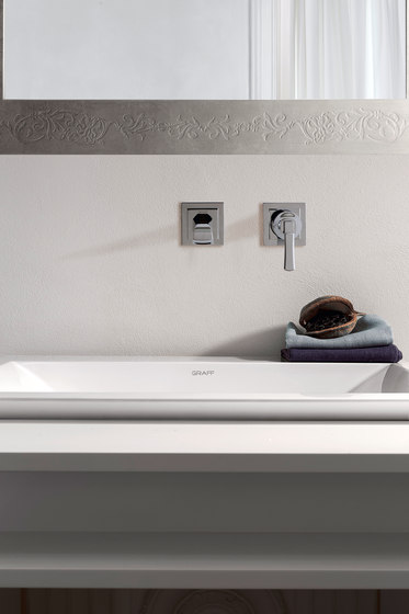 Finezza - Wall-mounted basin mixer with 19cm spout - exposed parts by Graff | Wash basin taps
