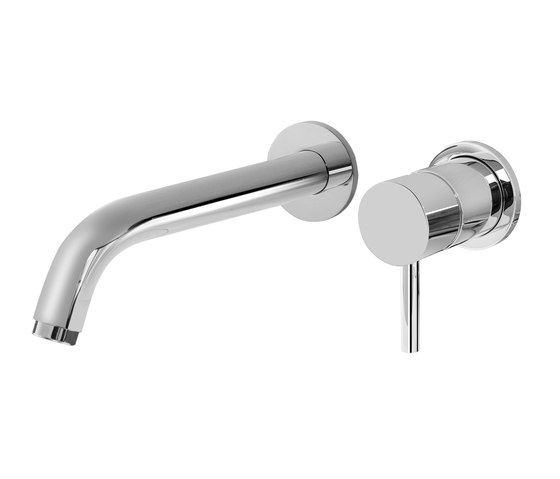M.E. 25 - Wall-mounted basin mixer with 19cm spout - exposed parts by Graff | Wash basin taps