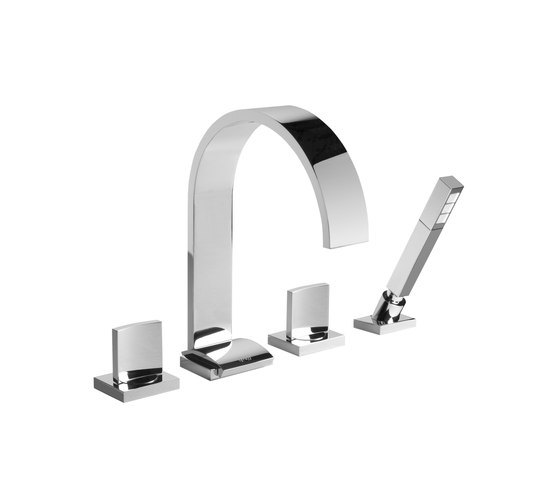 Sade - Deck-mounted bathtub mixer with hand shower set by Graff | Bath taps