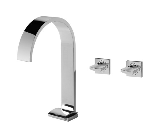 Sade - Basin mixer with wall-mounted valves with 16,5cm spout-high by Graff | Wash basin taps