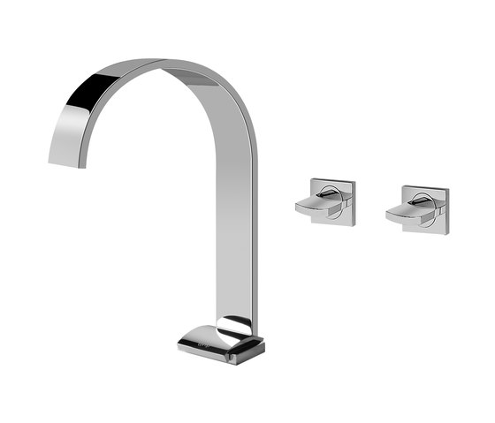 Sade - Basin mixer with wall-mounted valves with 19 cm spout-high by Graff   Wash basin taps