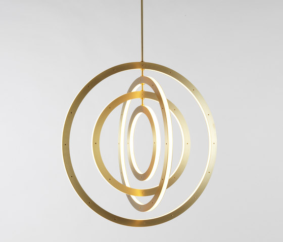 Halo Chandelier - Vertical, 4 Rings (Brushed brass) by Roll & Hill | Suspended lights