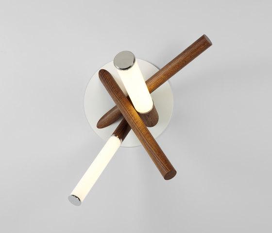 Mini Farrago sconce polished nickel / stained oak de Roll & Hill | Éclairage général
