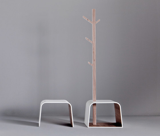 Dressage - Stool with clothes hanger in solid wood and Corian® by Graff | Stools