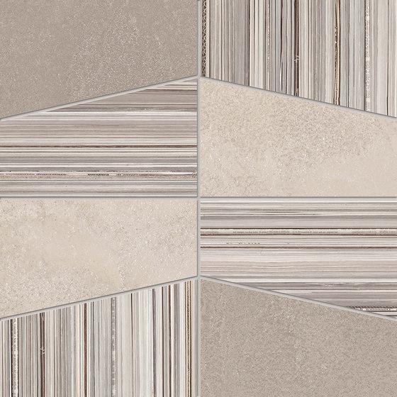 +3 Decoro Tetra Bianco-Sabbia-Paper Bianco di EMILGROUP | Piastrelle ceramica